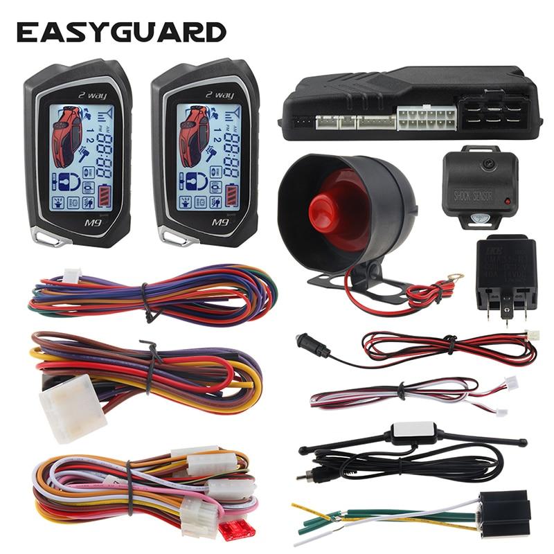 EASYGUARD 2 Way Car Alarm System big LCD Pager Display auto Start stop Turbo Timer Mode shock/vibrat
