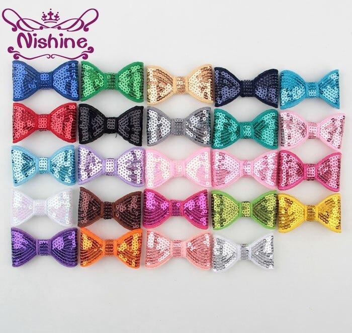 30 unids/lote de lazos de lentejuelas bordadas de 2 pulgadas para Diadema con pinza para el cabello accesorios para el cabello DIY para niñas (Color24 colores)