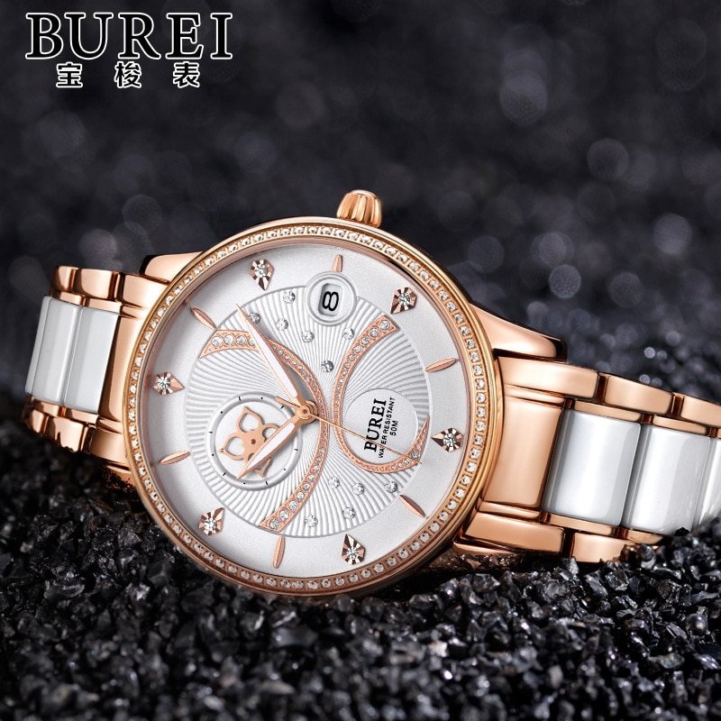 Reloj Mujer BUREI Brand Luxury Women Watch Ladies Fashion Waterproof Automatic Mechanical Wristwatch Clock 2020 Relogio Feminino enlarge