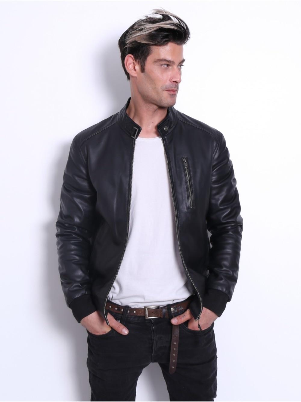 VAINAS الأوروبية العلامة التجارية رجل سترة جلدية للرجال الشتاء الغنم الحقيقي سترة جلدية حقيقية الأغنام السترات الجلدية السائق جاكيتات