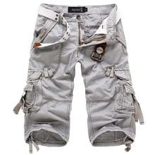 Icpans Shorts décontracté és Denim Jeans lâche été armée militaire genou longueur Cargo Shorts grande taille 40 42 entraînement sans ceinture