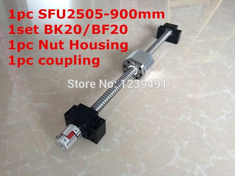 SFU2505-900mm Ballscrew مع Ballnut الكمبيوتر + BK20/ BF20 دعم + 2505 الجوز الإسكان + 17 مللي متر * 14 مللي متر اقتران CNC أجزاء