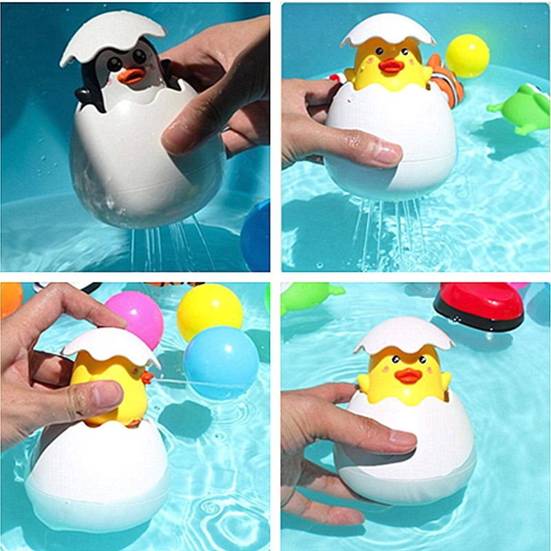 Baby Bathing Toy Kids Cute Duck Penguin Egg Water Spray Sprinkler Bathroom Sprinkling Shower Swimming Water Toys Kids Gift