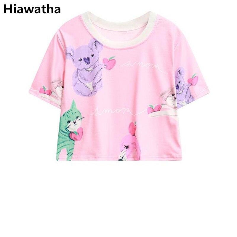 ¡Novedad de 2018! Camiseta rosa con estampado de gato bonito de Hiawatha, camiseta de manga corta de estilo Harajuku para verano, camisetas sueltas para mujer T3376