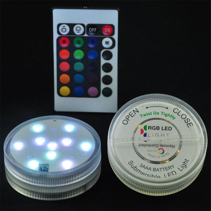 Погружная Светодиодная лампа с пультом дистанционного управления, диаметр 7 см, 10 шт., белый/теплый белый/RGB SMD светодиоды