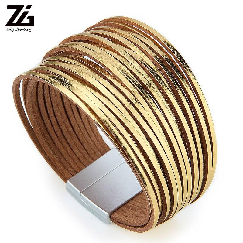 ZG, pulseras Bohemias de cuero para mujer, moda 2019, tiras delgadas, pulsera multicapa de envoltura ancha, regalo de joyería femenina