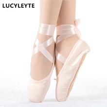 Taille 28-43 LUCYLEYTE enfant et adulte ballet pointe chaussures de danse dames professionnel ballet danse chaussures avec rubans chaussures femme