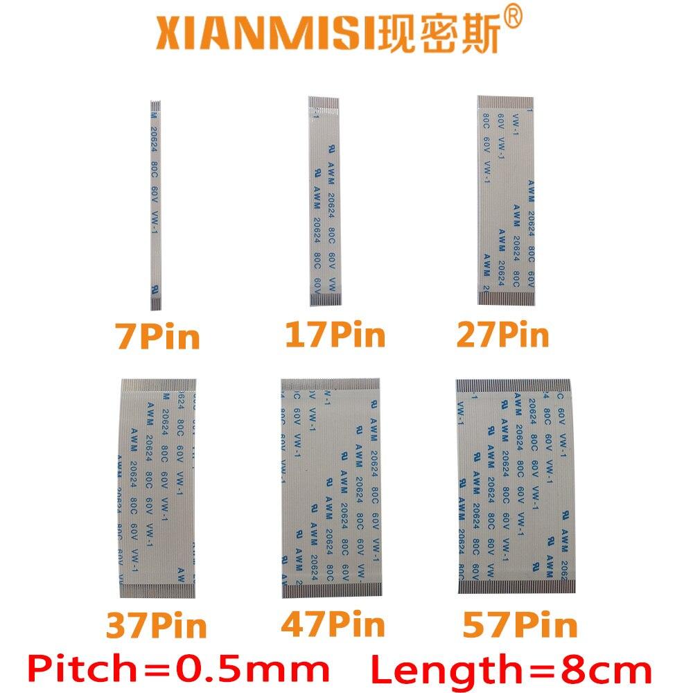 FFC/FPC planos Flex Cable 7Pin 17Pin 27Pin 37Pin 47Pin 57Pin mismo lado 0,5mm AWM VW-1 20624 20798 80C 60V Longitud 8cm 5 uds