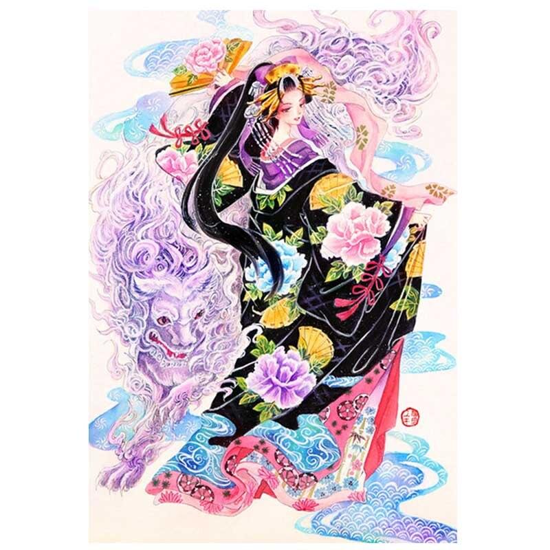 5D diy のダイヤモンド塗装日本芸者書道フルドリルスクエアラウンド mozaik パズルダイヤモンド刺繍 womenZP-001