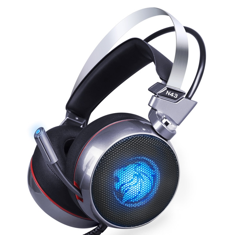ZOP-سماعة رأس استريو للألعاب مع صوت محيطي وميكروفون وإضاءة LED ، طراز N43 ، 7.1 افتراضي ، لألعاب الكمبيوتر