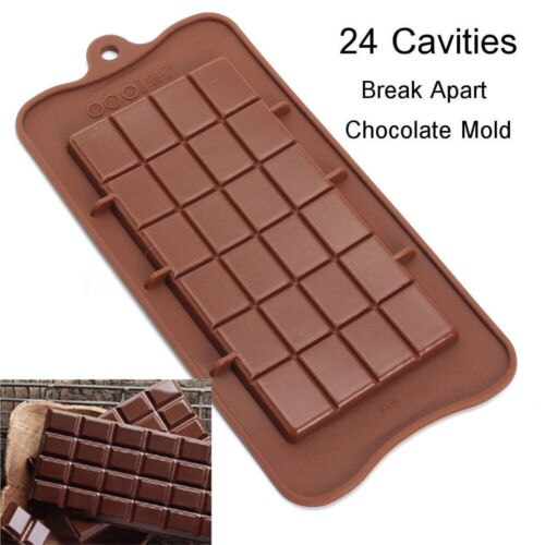 24 Grid Square DIY Chocolate Mold Bar Block Ice Silicone Cake Candy Sugar Bake Mould