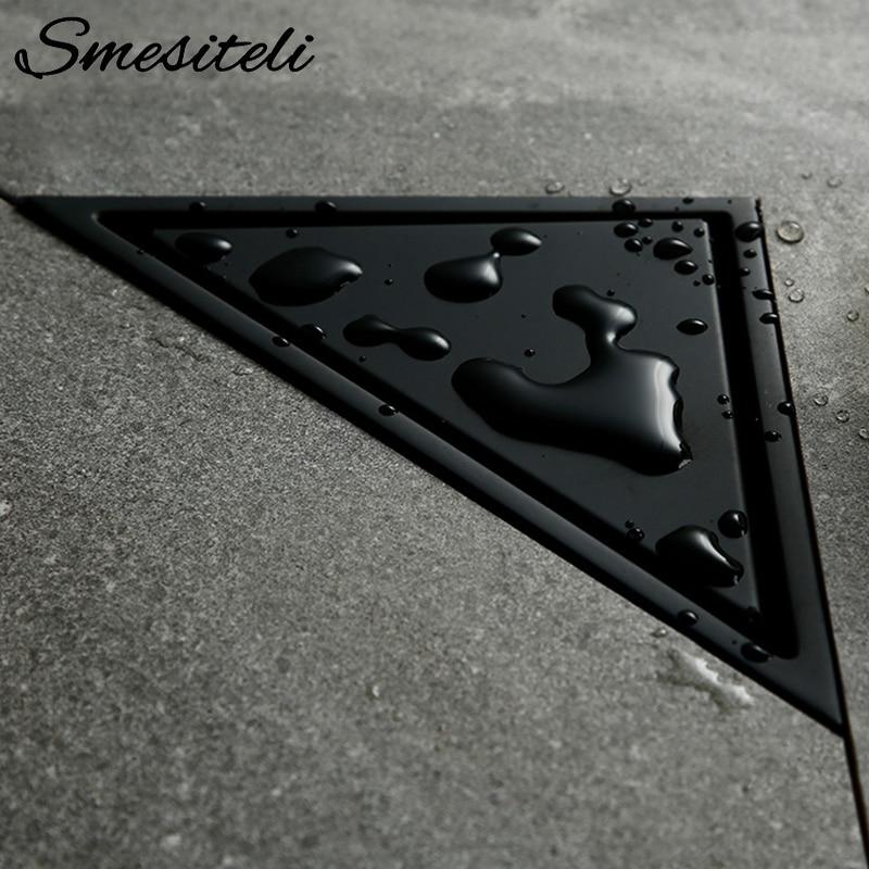 Smesiteli-مصفاة بالوعة الحمام من الفولاذ المقاوم للصدأ ، نوع مخفي ، مثلث ، بلاط ، مع فتحات تصريف ، 232 × 117 مللي متر