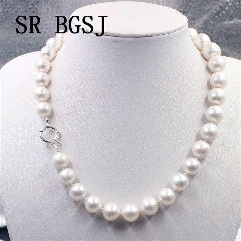 "Envío Gratis 11-14mm AAA perla de agua dulce Natural redonda 925 cierre de plata joyería nudo elegante collar 18"""