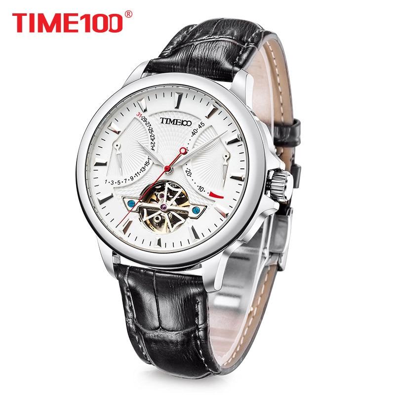 новый Time100 Мужские часы Автоматические Механические Часы Военно-морского флота Часы ажурные Наручные Часы Для Мужчины