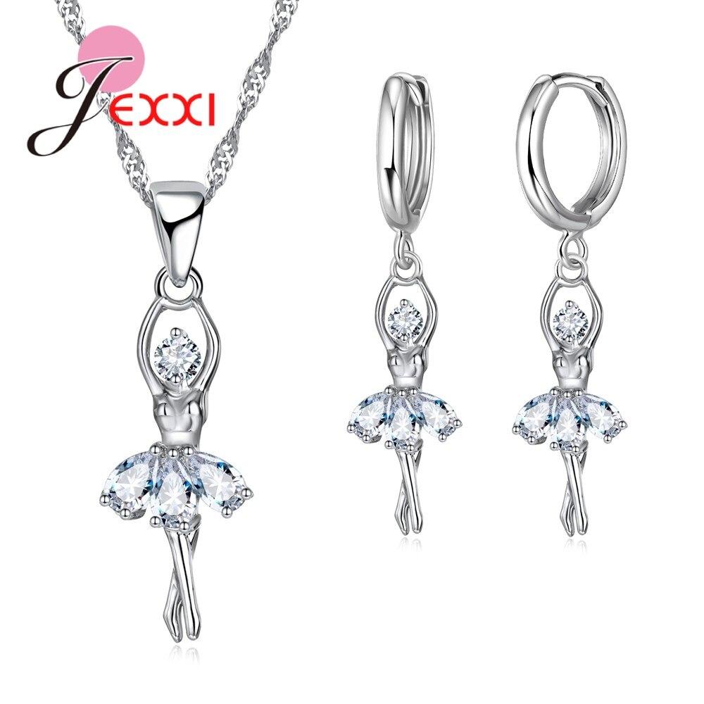 Милый набор ювелирных изделий для балета, серебряные серьги с кулоном из кубического циркония, 925 пробы
