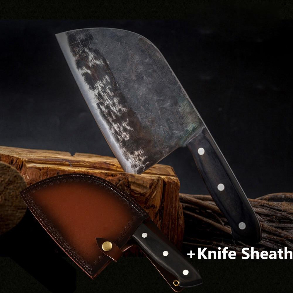 CN cuchillo de cocina forjado hecho a mano de Chef carnicero cuchillo de cocina de acero revestido de carbono cuchillo de cuchillo chino cuchillo cortador Nakiri Gyuto herramienta cubierta