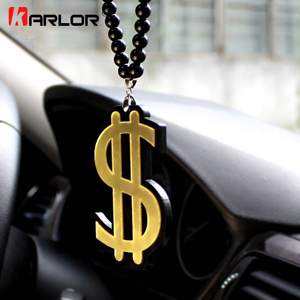 Американский доллар символ богатство Авто Модный кулон JDM интерьер зеркало заднего вида орнамент Висячие Подвески акриловый автомобиль-Ст...