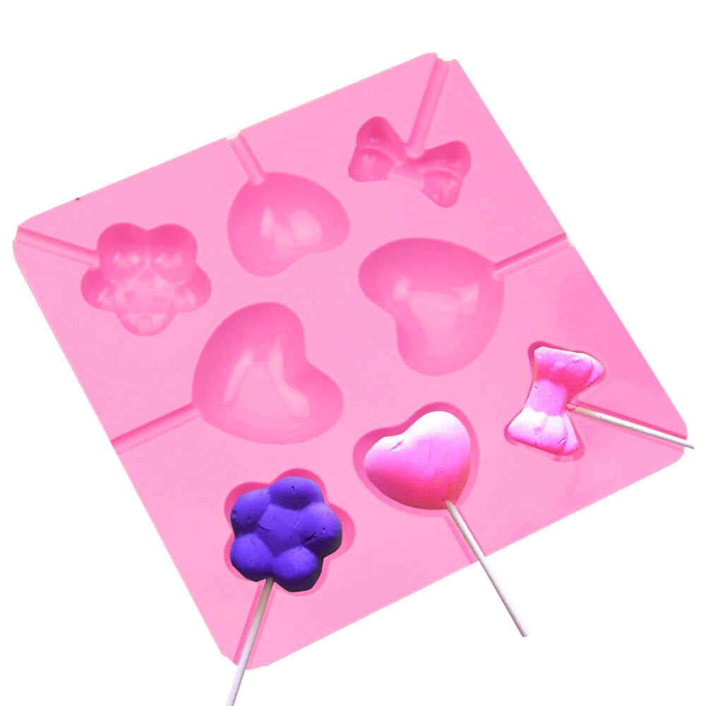 Precioso Bowknot corazón flor con forma silicona chocolate pastel de caramelo Lollipop Lolly Corazón y lazo molde hielo molde C42