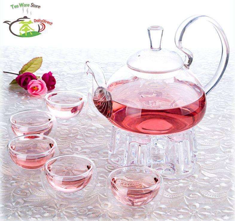 1x Tea Set F-1*780ml High Handle Heat-Resisting Glass Tea Pot+6 Cups+1*Warmer