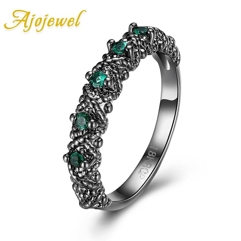 Jojewel aaa zircônia cúbica 4mm banda anel antigo feminino anéis preto arma chapeado dedo jóias atacado