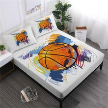 Watercolor Football Basketball Sheet Set Colorful Sports Design Bed Sheet Deep Pocket Fitted Sheet Bed Linens Pillowcase D45