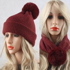 2018 Winter Wool Hat Scarf Fur Pom pom Hats For Women Warm Knitted Beanies Ladies Casual Cap Skullies