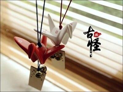 Ceramic paper crane wind chimes, wishing cards, ornaments, wind bells, glass bells, windchimes, free shipping