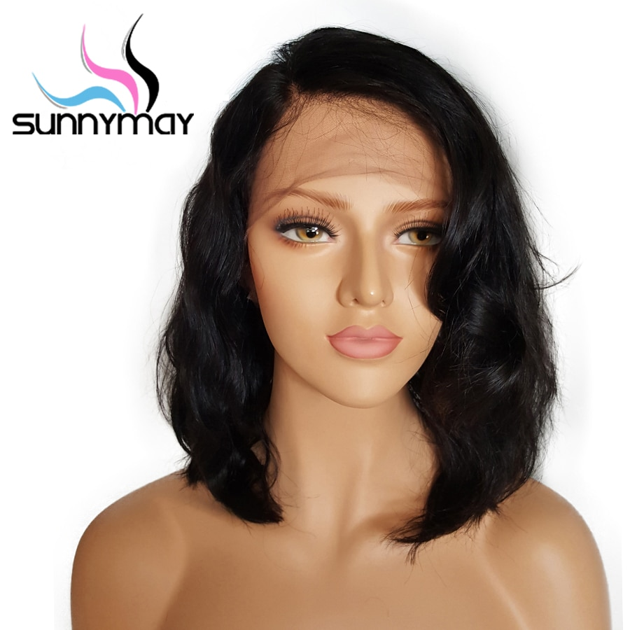 Sunnymay 13x4 Short Bob Lace Front Human Hair Wigs With Baby Hair 8 to 16 Inch Glueless Brazilian Remy Wavy Wigs Bleached Knots