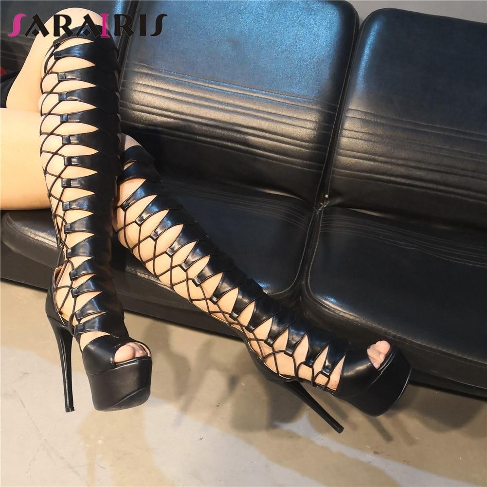 SARAIRIS Brand Design Big Size 35-47 Customized Quality Sexy Women Shoes Woman Party Nightclub Thin High Heels Summer Boots