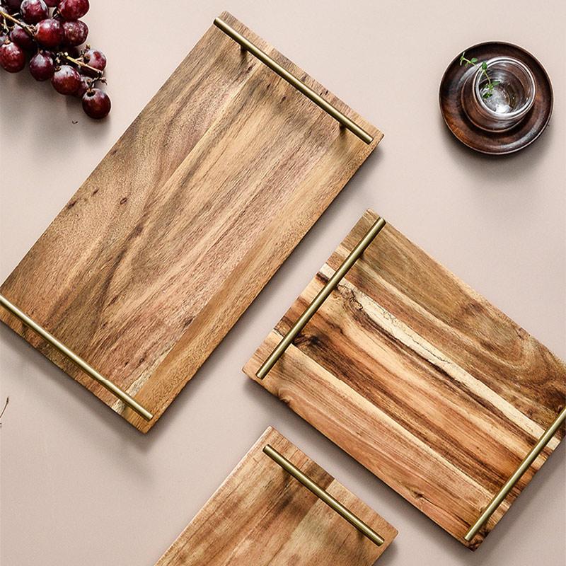 פשוט אופנתי מוצק עץ מלבני צלחת מזון פירות חטיף קינוח Acacia עץ מגש עם ידית ביתי קפה ספקי