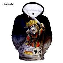 Poker à capuche hommes automne hiver Sweatshirts à capuche cartes à jouer roi coeur K impression 3D à capuche motif drôle Hip Hop hauts