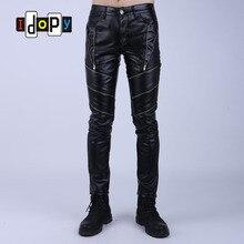 Idopy Fashion Night Club DJ Swag Skinny Party hommes Faux cuir PU serré noir Joggers Biker pantalon pour hommes garçons avec fermetures à glissière