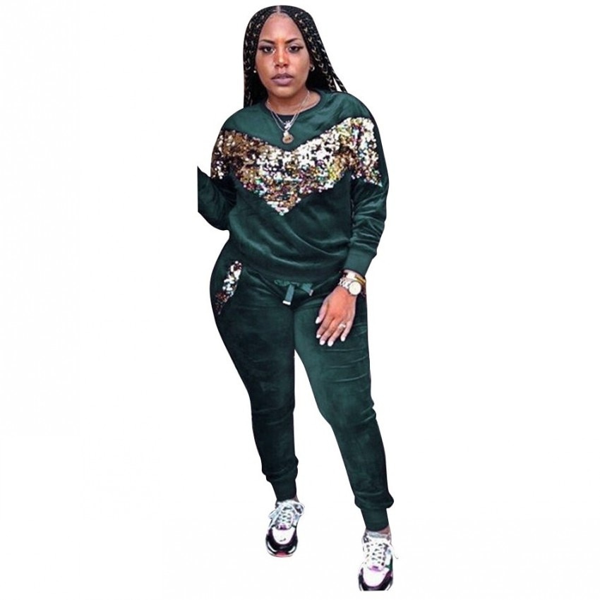 Conjuntos africanos para mujeres, conjunto de 2 piezas de lentejuelas de terciopelo, Tops y pantalones africanos, elástico Bazin, estilo Rock holgado Dashiki, ropa de África