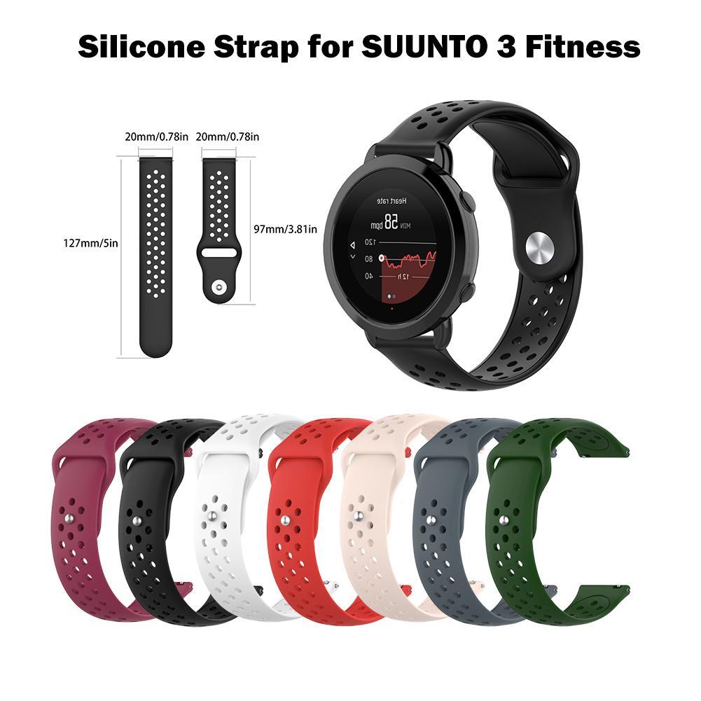 20mm 3 Substituição Pulseira de Silicone Confortável Assista Strap Para SUUNTO Esportes APTIDÃO Relógio Inteligente de Compra Por Atacado