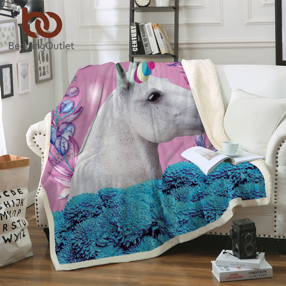 Manta de unicornio BeddingOutlet para niños, Sherpa de caballo a cuadros, colcha Floral para el hogar, Textiles rosa y azul battaniye 150x200cm
