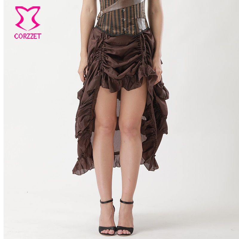 6XL Brown Chiffon Ruffle Long Victorian Skirts Womens 2017 Vintage Skirt Plus Size Gothic Clothing Women Steampunk Corset Skirt