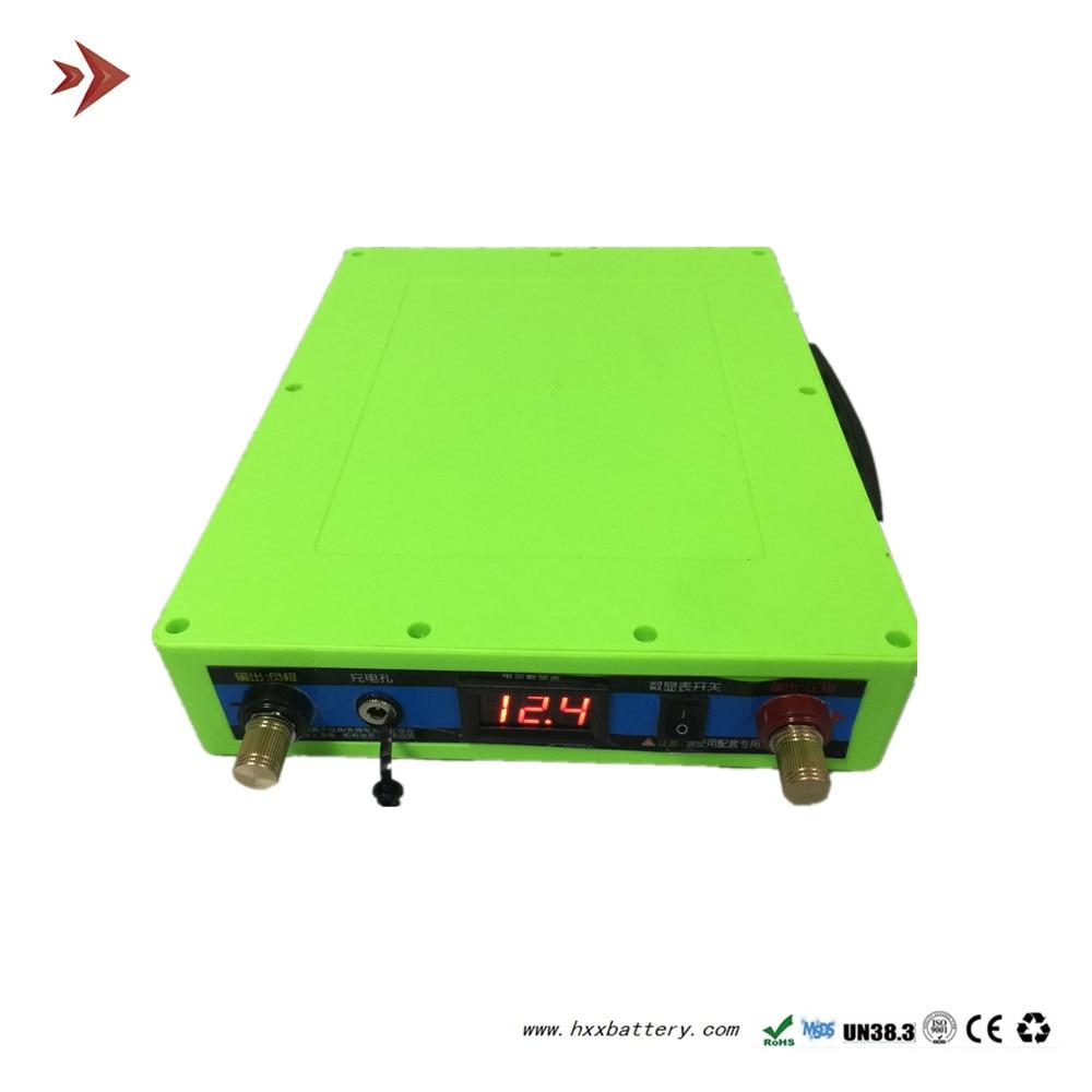 HXX 11.1 V 30Ah S30 Portátil Ao Ar Livre Da Bateria De Lítio-ion Pack ABS Verde Case + Carregador + Pacote de Saco