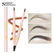 LANJINGLIN 4 Color Double Ended Eyebrow Pencil Waterproof Long Lasting No Blooming Rotatable Triangle Eye Brow Tatoo Pen