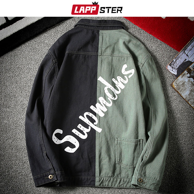 LAPPSTER, chaqueta Bomber con diseño de telas combinadas, para hombre, 2020, ropa informal japonesa, cazadora vaquera, chaquetas coreanas de béisbol a la moda para hombre