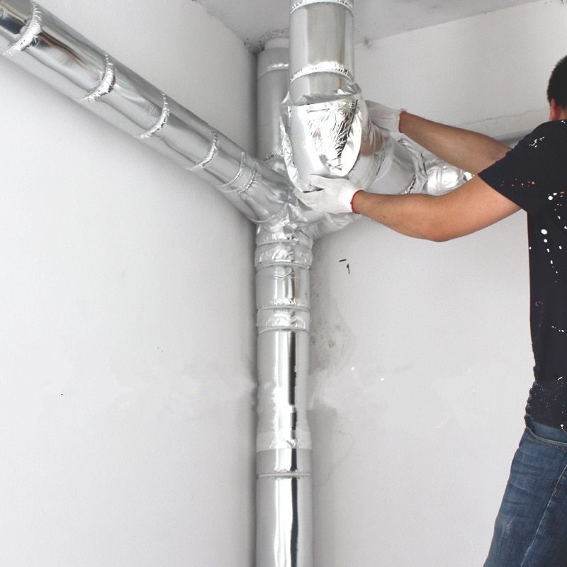 47X100CM, aislamiento acústico de alta densidad, algodón, disipador de calor, lámina de aluminio, espuma absorbente de sonido para tubo de drenaje, cubierta protectora