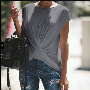5XL T-Shirts Frauen 2019 Kurzarm O-ansatz Feste Oversize T Shirts Damen Verdreht Unregelmäßigen frauen T-shirt Sommer Plus Größe