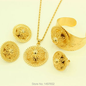 New Arrival Big Size Ethiopian set Jewelry 24k Gold Color Pendant/Necklace/Earrings/Ring/Bangle African Women Wedding Items