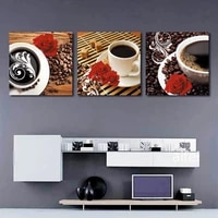 modern home decoration nordic poster coffee with rose flower canvas painting kitchen restaurant wall art pictures no frame