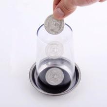Nowa moneta wnika w sztuczki kubka elastyczna moneta przez szklany magiczny stalowy kubek mata magiczne sztuczki rekwizyty