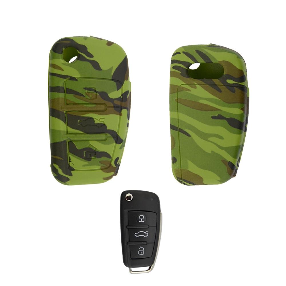 OkeyTech Silikon Auto Schlüssel Fall Abdeckung Für Audi A4 B6 A3 A6 A6L C5 C6 B8 B7 Q5 B5 Q7 3 tasten Fernbedienung Auto Flip Schlüssel Halter Tasche