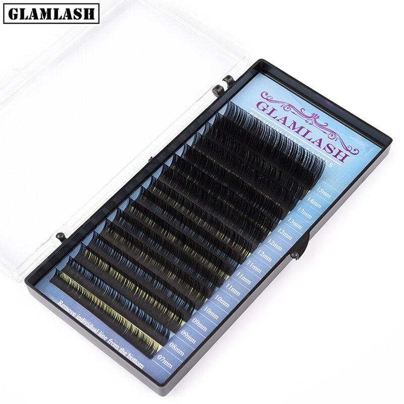 GLAMLASH Mix 7 ~ 15 mm 16 líneas hechas a mano coreano pbt pestañas extensión natural suave faux mink pestañas para extensión