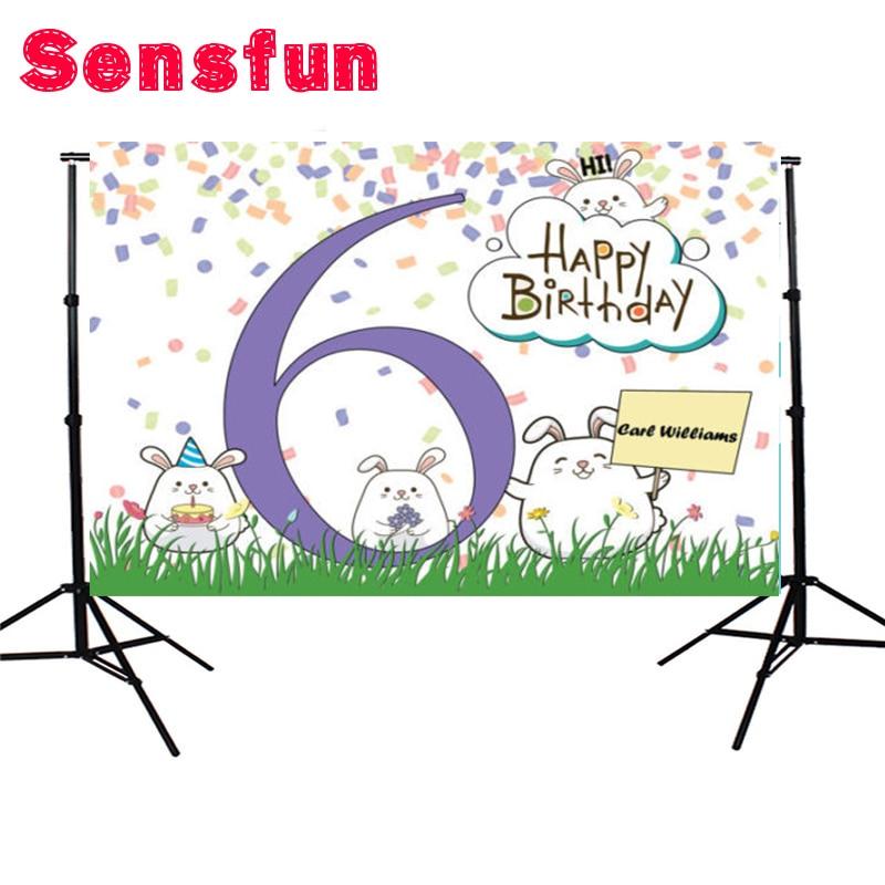 7x5ft paño de vinilo feliz 6th cumpleaños fiesta Photocall lindos animales recién nacidos foto de fondo de estudio de fondo personalizado