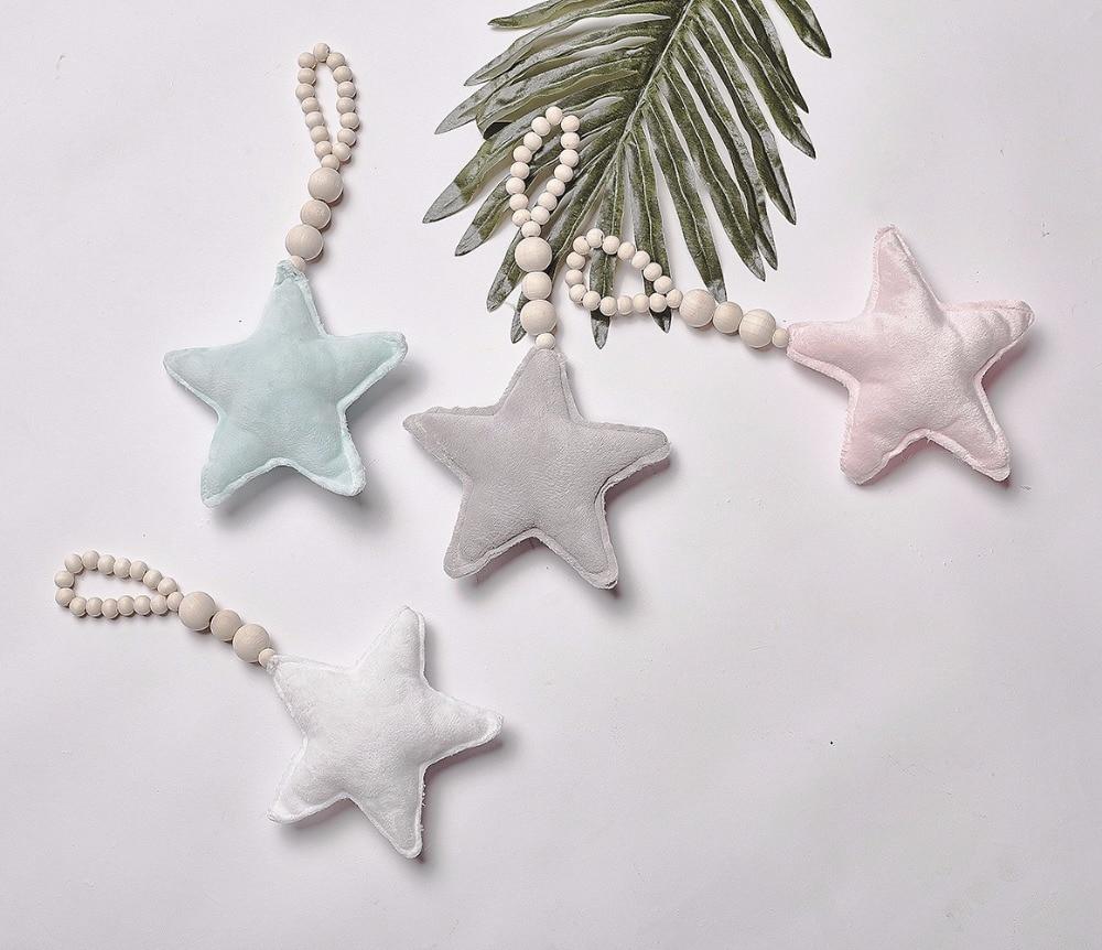 Decoración para bebés, Polo nórdico, luna, estrella, cuentas, juguetes, niño, cama, cuna, tienda, decoración decorativa, accesorios de fotografía, regalos