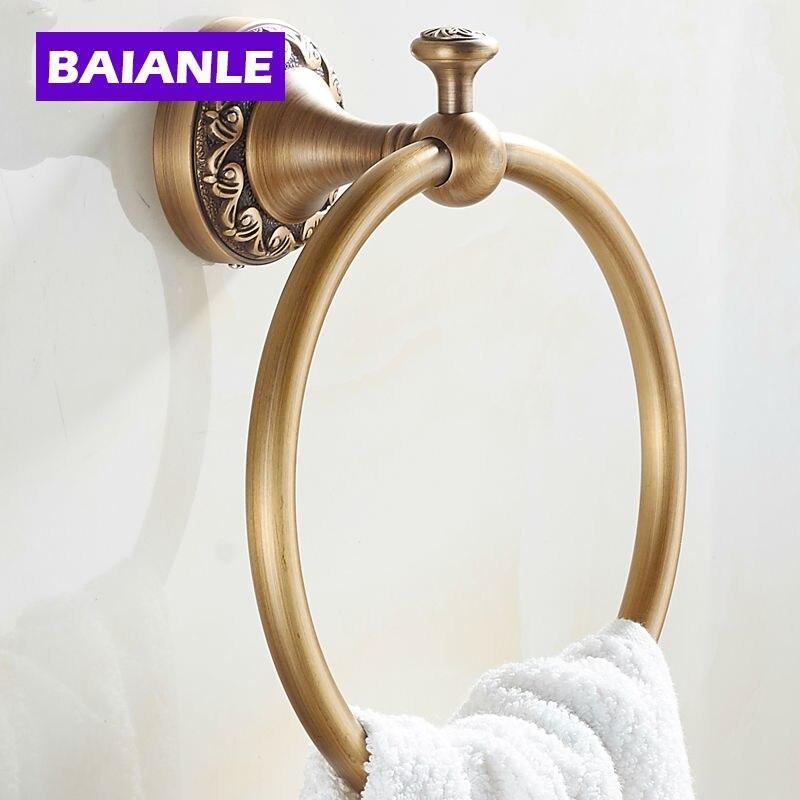 حلقة منشفة الحمام النحاسية العتيقة ، حامل حائط على الطراز الأوروبي ، ملحق الحمام الجديد