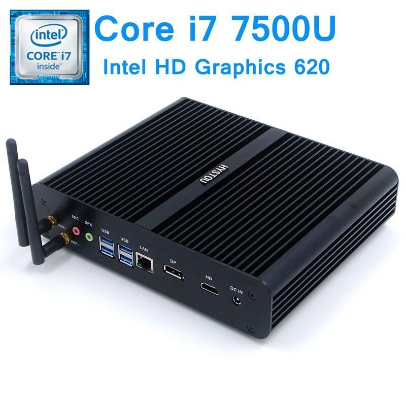 Hystou 7th Gen Kaby Lake Intel Core i7 7500U sin ventilador Mini PC Windows 10 Linux Gráficos HD 620 4K Micro Nettop computadora Mini PC